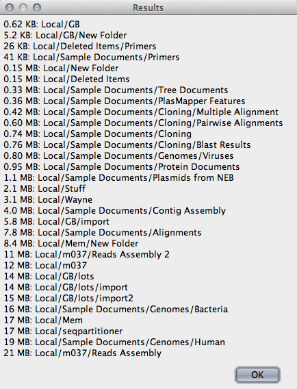List the size of all folders in your local database