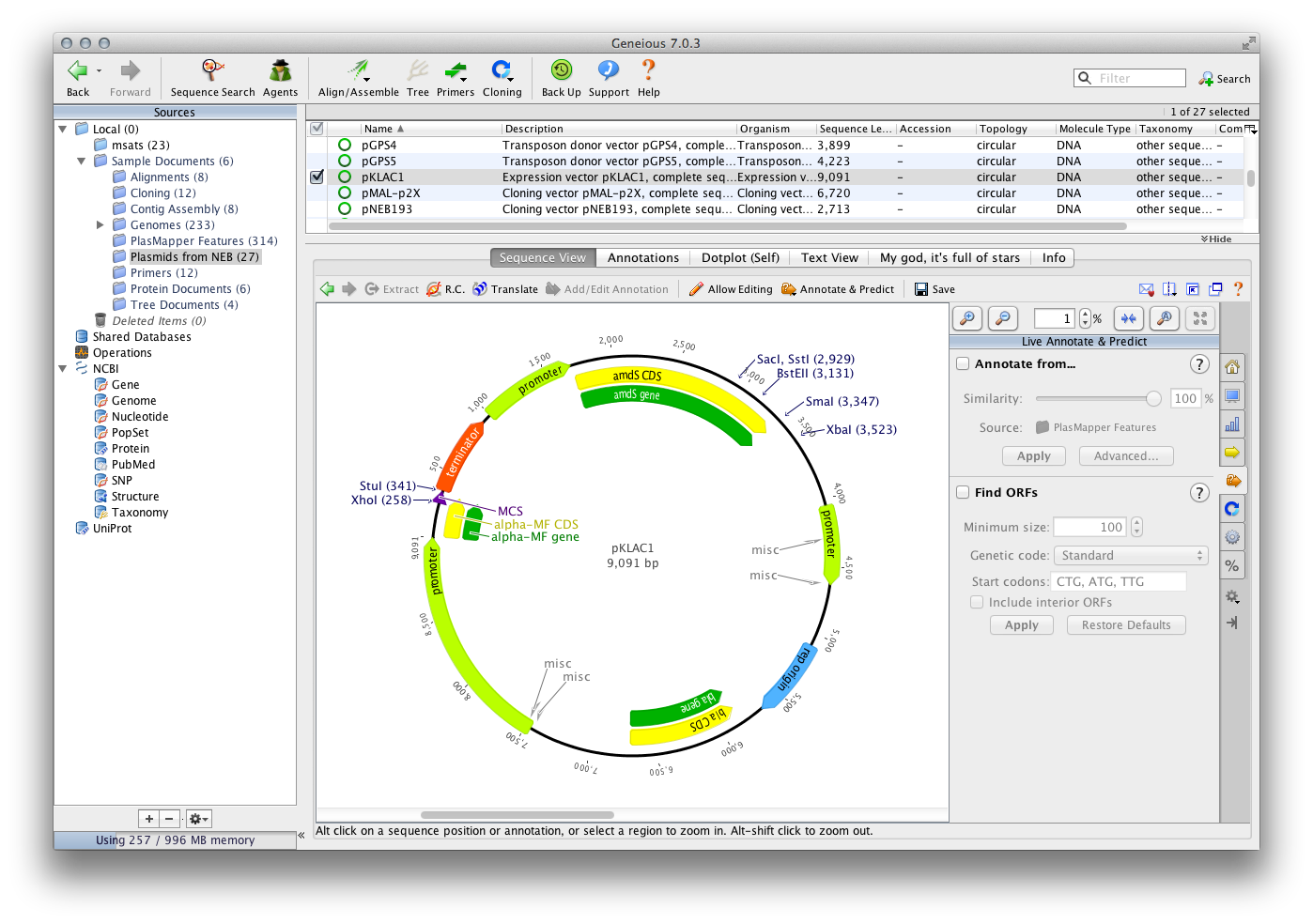 Annotate plasmid maps and expression vectors with PlasMapper for restriction mapping and molecular cloning