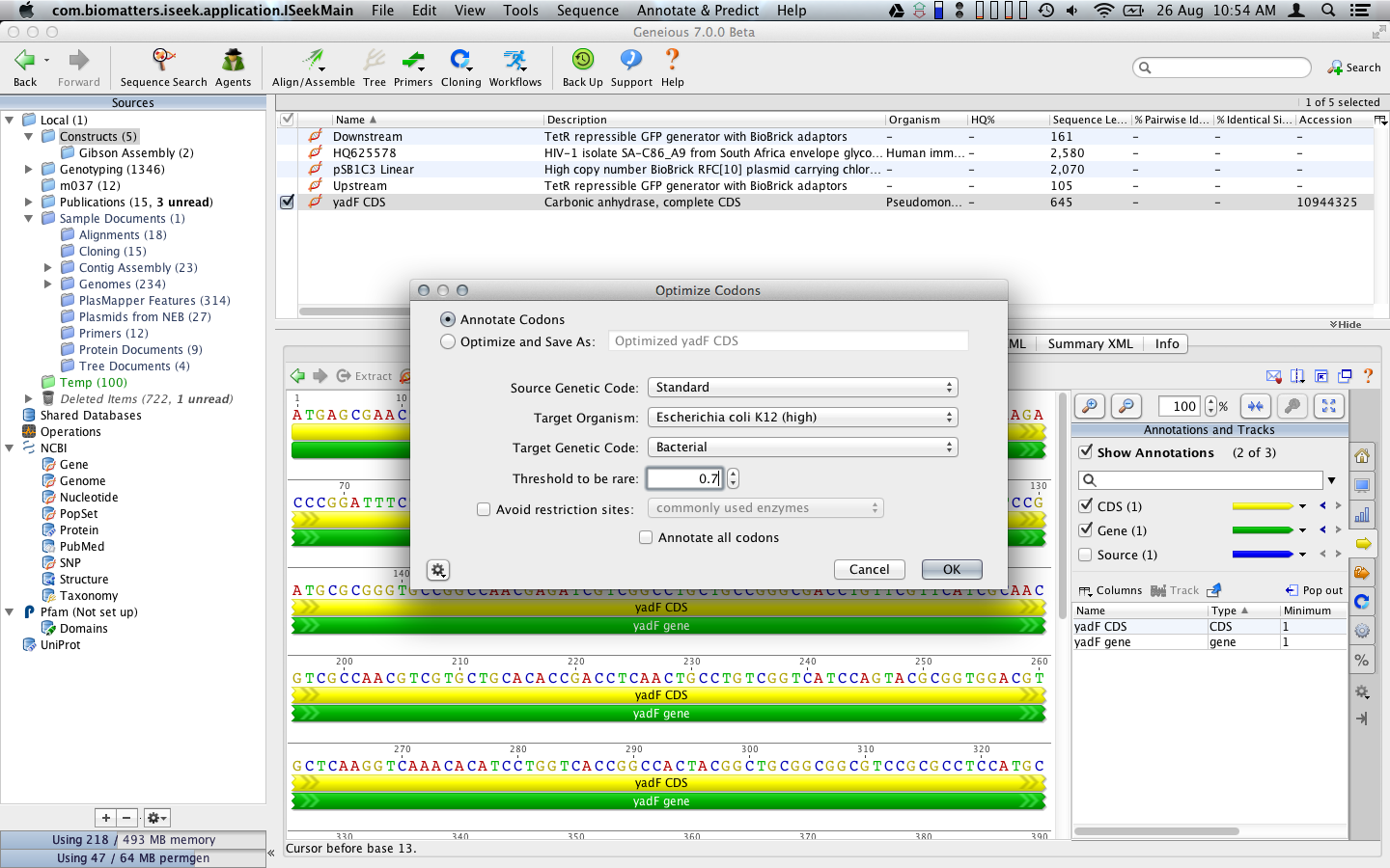 Use the codon optimization tool for finding rare codons and remove restriction sites